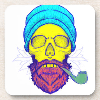 Yellow Skull Smoking Pipe. Coaster