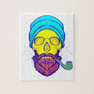 Yellow Skull Smoking Pipe. Jigsaw Puzzle