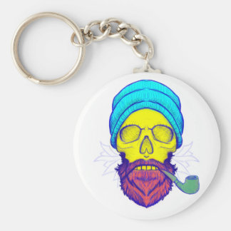 Yellow Skull Smoking Pipe. Key Ring