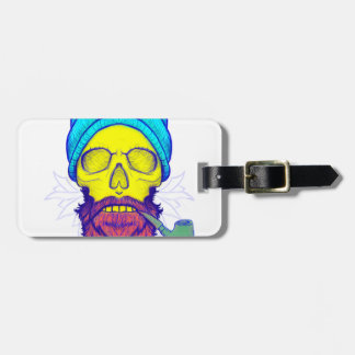 Yellow Skull Smoking Pipe. Luggage Tag