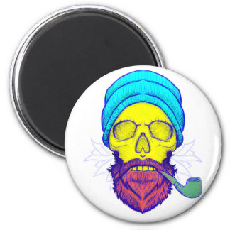 Yellow Skull Smoking Pipe. Magnet