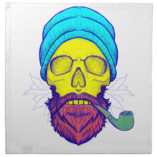 Yellow Skull Smoking Pipe. Napkin
