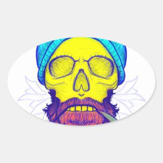 Yellow Skull Smoking Pipe. Oval Sticker