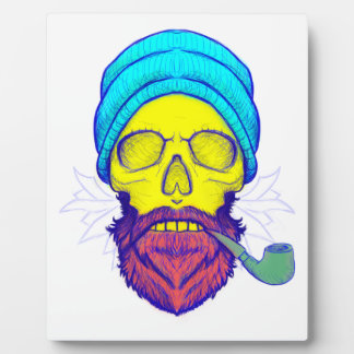 Yellow Skull Smoking Pipe. Plaque