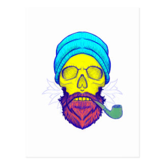 Yellow Skull Smoking Pipe. Postcard
