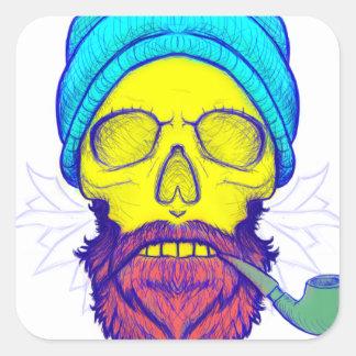 Yellow Skull Smoking Pipe. Square Sticker