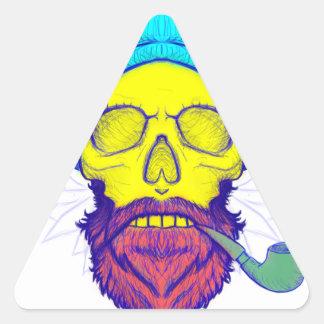 Yellow Skull Smoking Pipe. Triangle Sticker