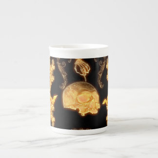 yellow skull with flowers tea cup