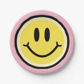 Yellow Smile 7 Inch Paper Plate
