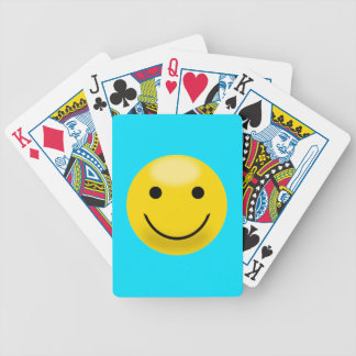 Yellow Smiley Bicycle Playing Cards