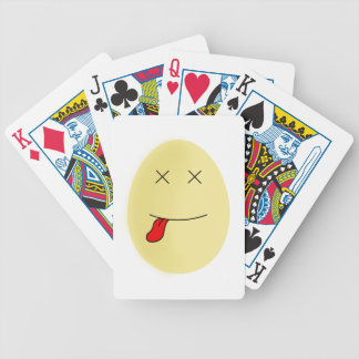 Yellow smiley egg face dead inside bicycle playing cards