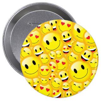 Yellow Smiley Emoji Cartoon Symbol Icon Pattern 10 Cm Round Badge