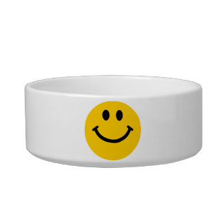 Yellow Smiley Face Cat Water Bowl