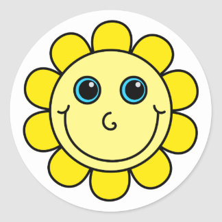 Yellow Smiley Face Flower Classic Round Sticker
