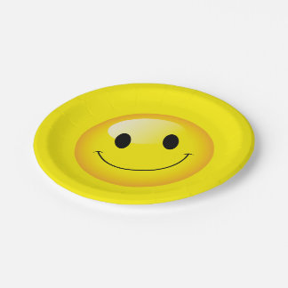 Yellow Smiley Face Happy Birthday Emoji Party 7 Inch Paper Plate