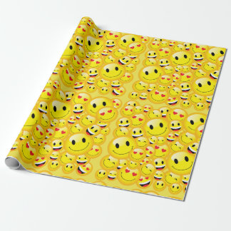 Yellow Smiley Face Happy Birthday Emoji Party Wrapping Paper