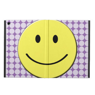 Yellow Smiley Face on Purple Polka Dots iPad Air Cover