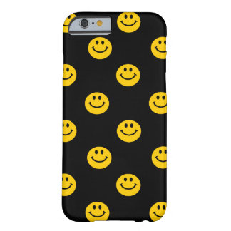 Yellow Smiley Face Pattern on Black Barely There iPhone 6 Case