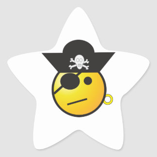 Yellow Smiley Face Pirate w/ Hat, Earring, & Patch Star Sticker