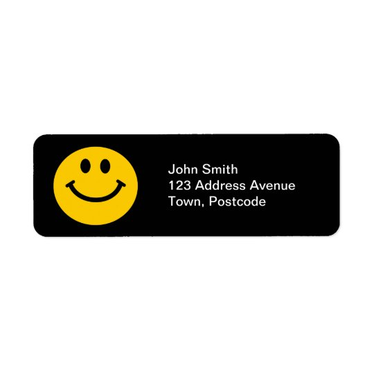 Yellow Smiley Face Return Address Label