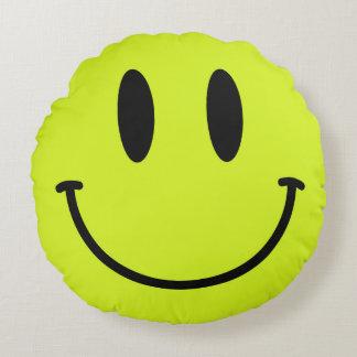Yellow Smiley Face Round Throw Pillow
