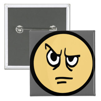 Yellow smiley face that is aggravated. pinback buttons