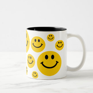 Yellow Smiley Face Two-Tone Coffee Mug