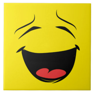 YELLOW SMILEY LARGE SQUARE TILE