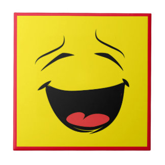 YELLOW SMILEY SMALL SQUARE TILE