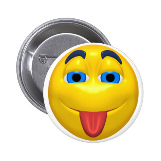 Yellow Smiley Sticking Out Tounge 6 Cm Round Badge