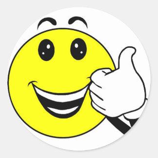 yellow smiley stiker classic round sticker