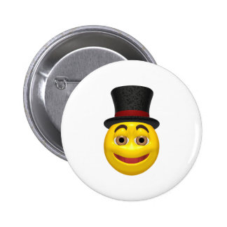 Yellow smiley wearing a top hat 6 cm round badge
