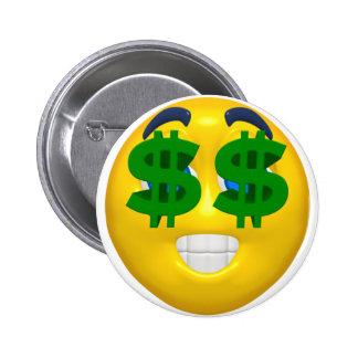 yellow smiley with money eyes 6 cm round badge