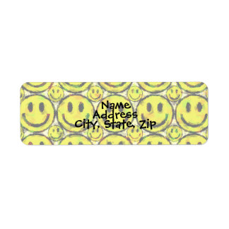 YELLOW SMILEYS RETURN ADDRESS LABEL