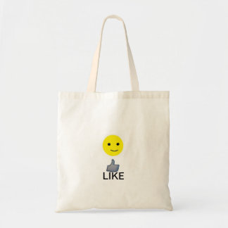 Yellow smily face and a 'Like' button. Tote Bag