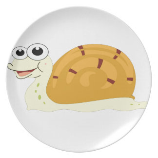 yellow snail in shell plate