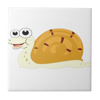 yellow snail in shell small square tile
