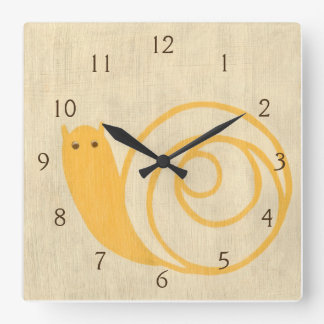 Yellow Snail on Cream Background Clock