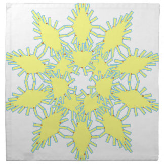 Yellow snowflake icon graphic on black background. napkin