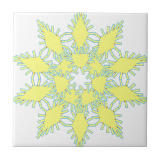 Yellow snowflake icon graphic on black background. tile