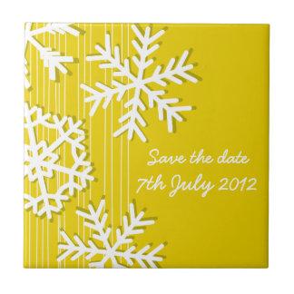 Yellow Snowflakes Christmas Save the date Tile