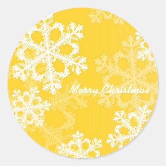 Yellow Snowflakes Christmas Sticker