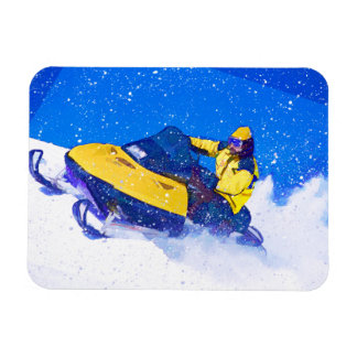 Yellow Snowmobile in Blizzard Magnet