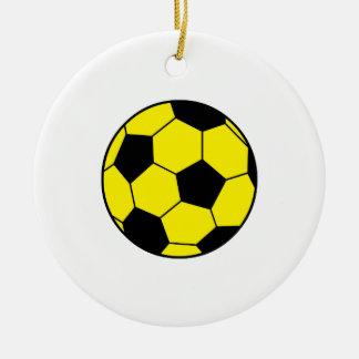 Yellow Soccer Ball Christmas Ornaments