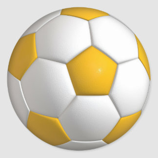 Yellow Soccer Ball Sports Player Round Stickers