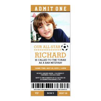 Yellow Soccer Bar Mitzvah Invites