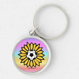 Yellow Soccer Daisy Silver-Colored Round Key Ring
