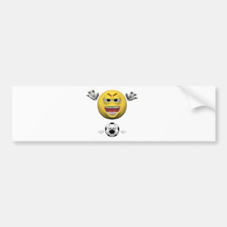 Yellow soccer emoticon or smiley bumper sticker
