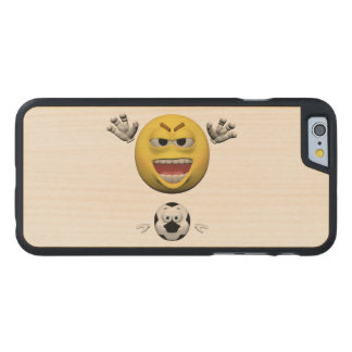 Yellow soccer emoticon or smiley carved maple iPhone 6 case