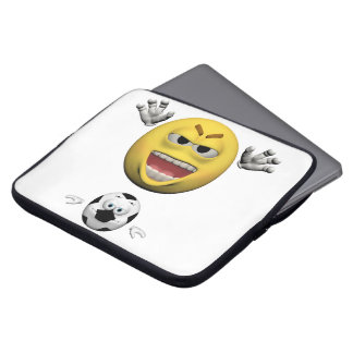 Yellow soccer emoticon or smiley laptop sleeve